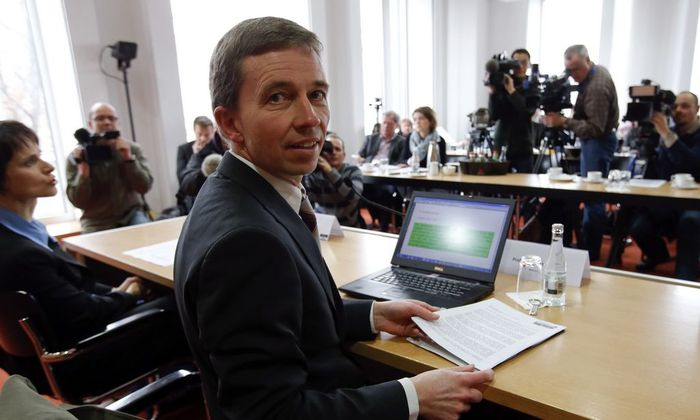 Professor of macroeconomics and co-founder of Germany's anti-euro party 'Alternative fuer Deutschland' Lucke addresses a news conference in Berlin