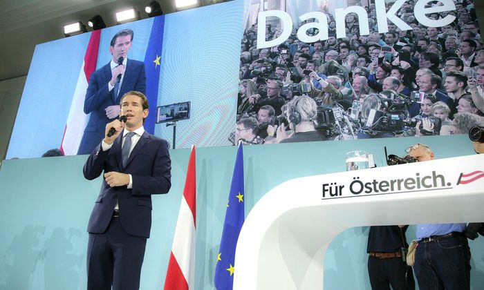 Sebastian Kurz bei der Wahlfeier der OeVP zu den gewonnenen Nationalratswahlen in Oesterreich im Kursalon am Stadtpark. Wi