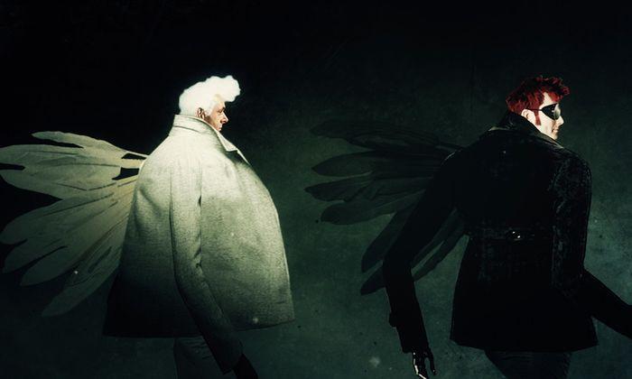 "Das Intro zur BBC-Serie ""Good Omens"": Michael Sheen als Engel, David Tennant als Teufel."