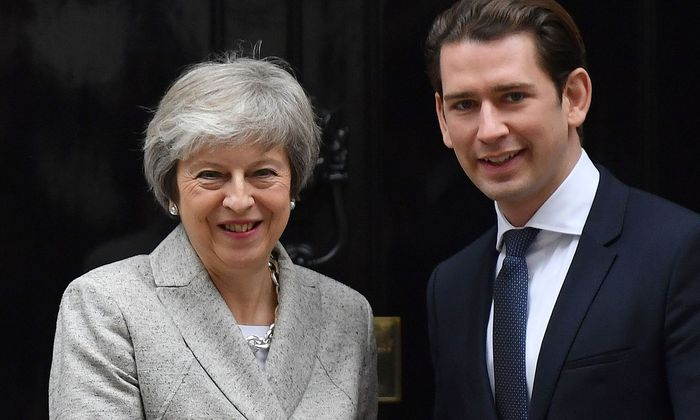 Theresa May mit Kanzler Kurz am 22. November 2018 in London