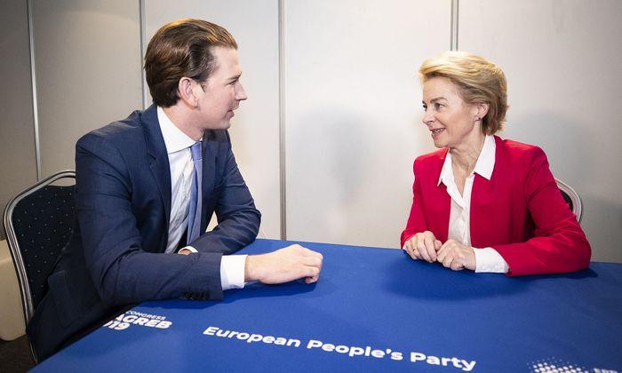 ÖVP-Chef Kurz im Gespräch mit der designierten EU-Kommissionsvorsitzenden, Ursula von der Leyen.