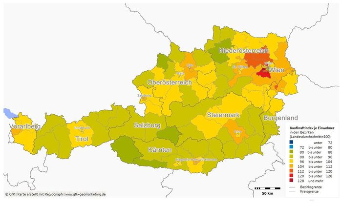 Österreich-Durchschnitt = 100