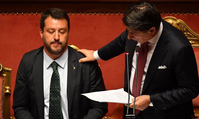 Matteo Salvini musste sich von Giuseppe Conte einige Vorwürfe anhören.