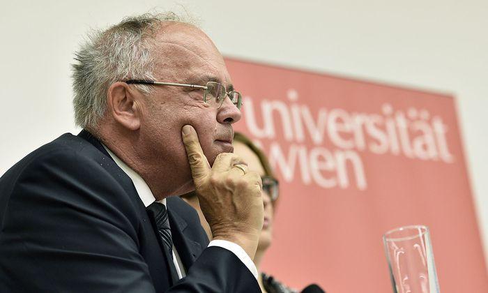 Heinz W. Engl, Rektor der Universität Wien, Stephan Rixen, Leiter der Kommission der Österreichischen Agentur für wissenschaftliche Integrität (OeAWI) bei der Bekanntgabe des Prüfergebnisses
