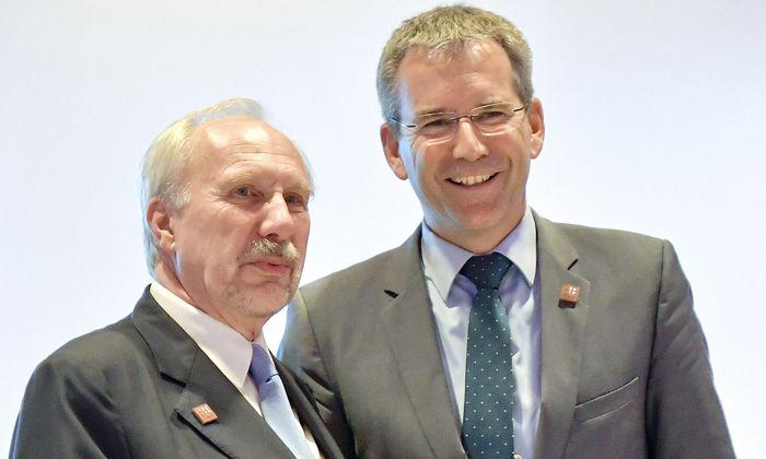Ein Bild aus harmonischeren Tagen. Notenbank-Gouverneur Ewald Nowotny (l.) hätte sich die Bankenaufsichtsreform von Finanzminister Hartwig Löger ganz anders vorgestellt. Doch seine Einwände halfen nichts.