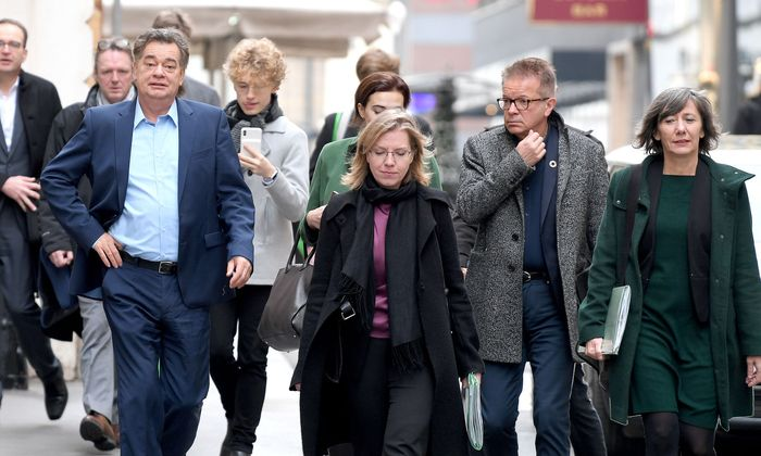 Grüne Verhandler: Werner Kogler, Leonore Gewessler, Rudolf Anschober und Birgit Hebein.