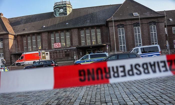 Archivbild vom Bahnhof Flensburg vom vergangenen Mittwoch nach der Messerattacke.