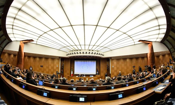 Regierungschef Gentiloni hält seine Jahresabschluss-Rede.