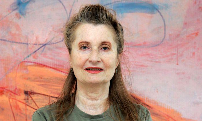 Austrian writer and Nobel Literature Laureate Jelinek poses in her house in Vienna