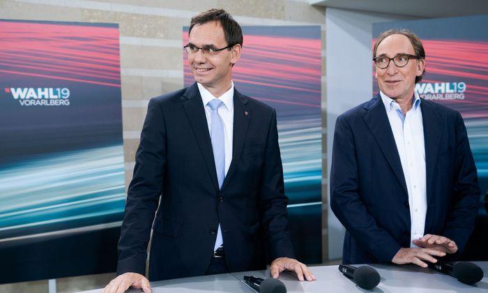 ÖVP-Spitzenkandidat Landeshauptmann Markus Wallner und Grünen-Spitzenkandidat Johannes Rauch