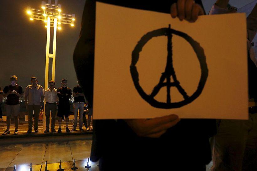 Peace Zeichen Mit Eiffelturm