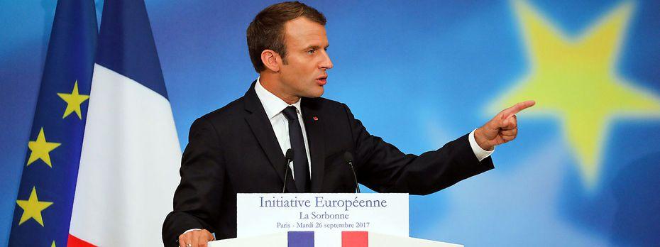 Emmanuel Macron erklärt an der Sorbonne, wie er sich die Zukunft der EU vorstellt. / Bild: REUTERS