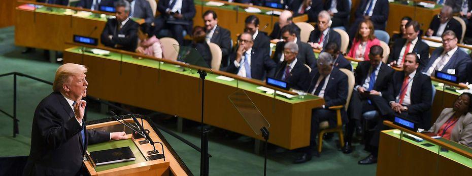 Donald Trump bei seiner ersten UNO-Vollversammlung in New York. / Bild: APA/AFP/DON EMMERT
