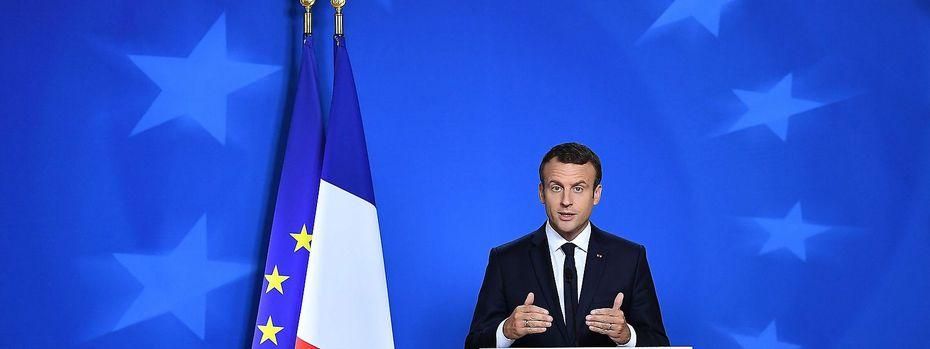 """""""Ich bin für Freihandel"""", sagte Emmanuel Macron bei seinem EU-Debüt. / Bild: APA/AFP/EMMANUEL DUNAND"""