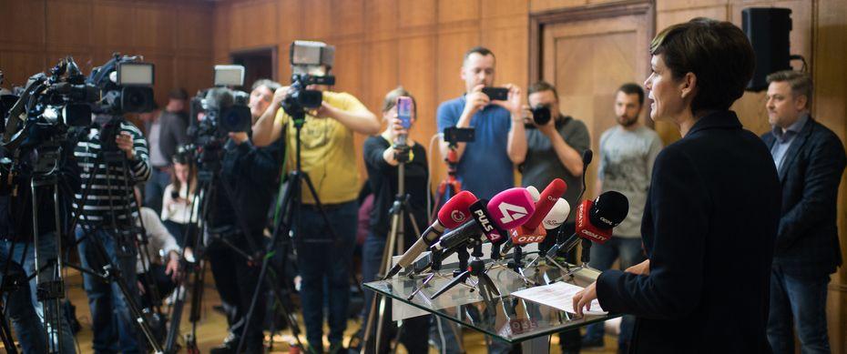 SPÖ-Chefin Rendi-Wagner bei einer Pressekonferenz am Dienstag. / Bild: (c) Michael Gruber / EXPA / pictured (Michael Gruber)