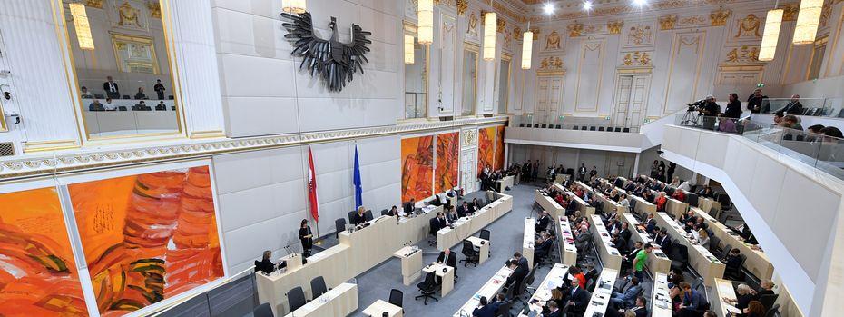 Auf den Inhalt der Debatten färbte die Schönheit des Ersatzsitzungssaals des Nationalrats, des großen Redoutensaals in der Hofburg, nicht ab. / Bild: (c) APA/ROLAND SCHLAGER