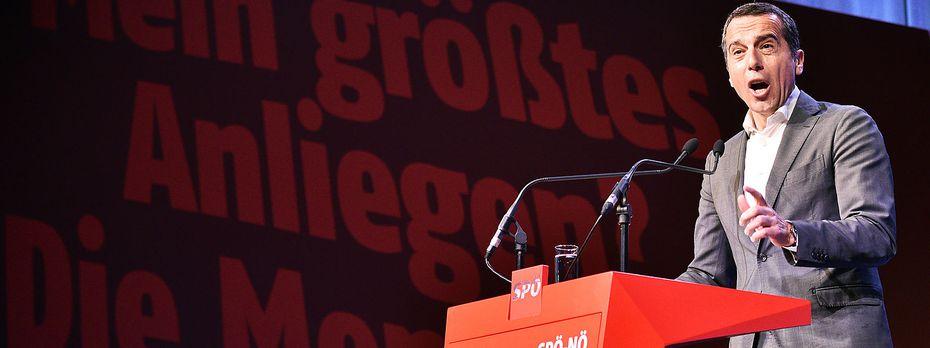 Kern am niederösterreichischen Landesparteitag. / Bild: APA/HANS PUNZ