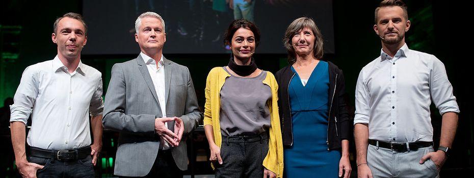 Diese fünf treten an, um Wiens Grüne in die Gemeinderatswahlen zu führen: Kaan, Ellensohn, Abensperg-Traun, Hebein und Kraus / Bild: APA/GEORG HOCHMUTH