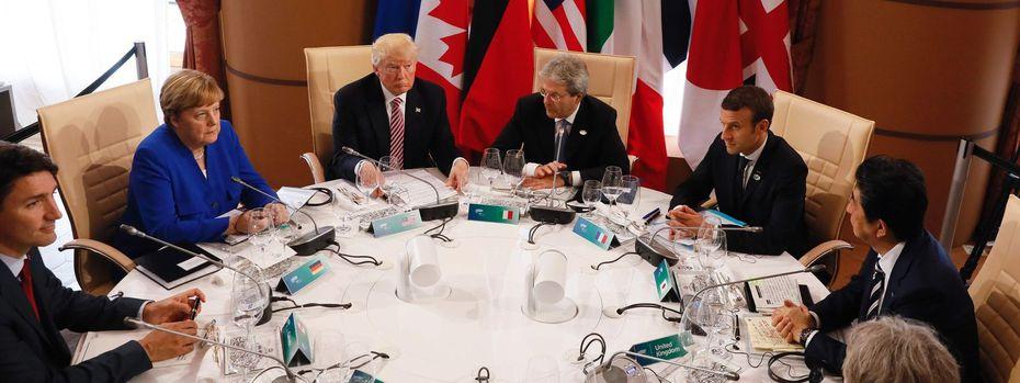 Justin Trudeau (Kanada), Angela Merkel (Deutschland), Donald Trump (USA), Paolo Gentiloni (Italien), Emmanuel Macron (Frankreich), Shinzo Abe (Japan), Theresa May (Großbritannien) / Bild: APA/AFP/POOL/JONATHAN ERNST