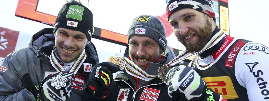 Marcel Hirscher führte vor Michael Matt und Marco Schwarz den allerersten ÖSV-Dreifachsieg bei einer Ski-WM an / Bild: GEPA pictures
