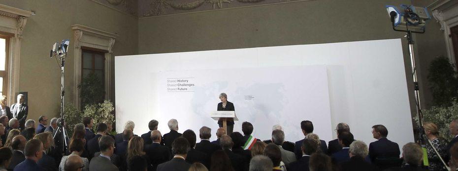 Theresa May bei ihrer Rede in Florenz. / Bild: (c) AFP (ALESSANDRA TARANTIN)