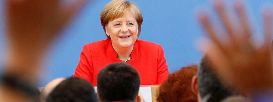 Angela Merkel bei der Sommer-Pressekonferenz. / Bild: (c) Reuters