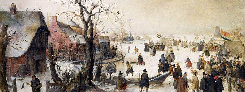 """Auf den Winterbildern von Hendrik Avercamp zeigt sich die """"Kleine Eiszeit"""" von ihrer pittoresken Seite. Das trügt. Auf den Winterbildern von Hendrik Avercamp zeigt sich die """"Kleine Eiszeit"""" von ihrer pittoresken Seite. Das trügt.  / Bild: (c) Wikimedia Commons"""
