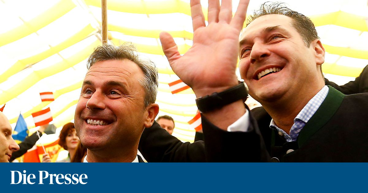 Leader of the austrian freedom party strache and presidential candidate hofer attends a may day event in linz 1528193474177888 v0 h